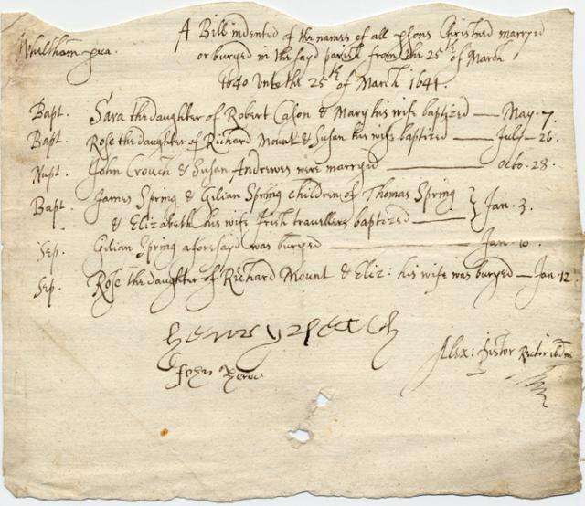 On 3 January 1641 in the parish of Little Welnetham near Bury St Edmunds in Suffolk James and Gilian Spring were baptised. Their parents Thomas and Elizabeth were Irish Travellers. Within a week Gilian had died and was buried on 10 January.