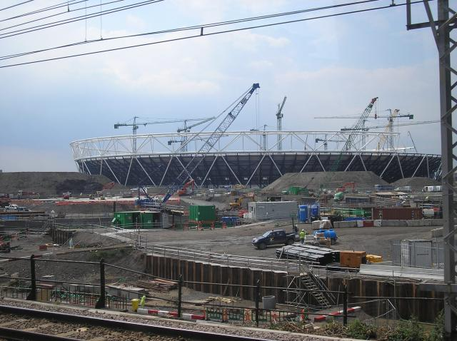 This photograph was taken at the end of June 2009, approximately 3 years before the London games will take place. The 80,000 seat stadium will be the centre-piece for the 2012 Games.