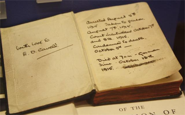 Book of Common Prayer belonging to Edith Cavell and which she had with her in prison. It is inscribed by Edith Cavell to her cousin E D Cavell.