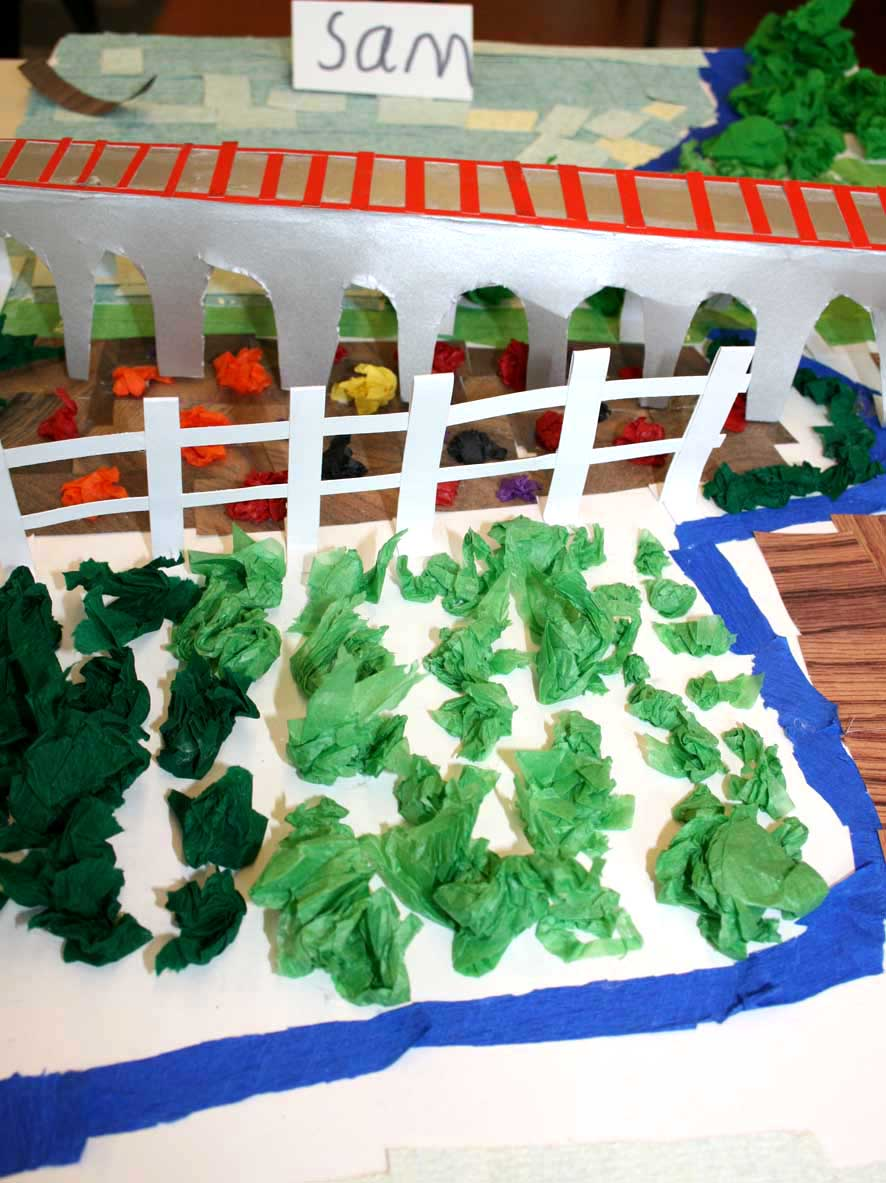 Models made by St John's Digswell children of the viaduct.