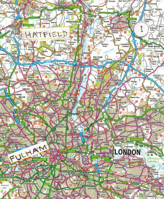 Map of London, Fulham and Hatfield. 