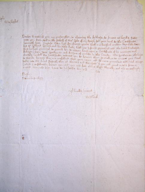 This is a letter written to Wittewronge (?) on 8 December 1657 from Richard Ward of Bushy. He writes requesting support for a campaign to enable Captain Titus to return to England from exile and his signature on a document to be sent to the Lord Protector, Oliver Cromwell. The writer believes that W...