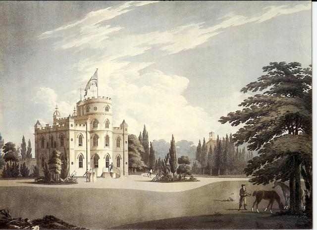 An aquatint by J. Raffield, published in 1797. Belmont Castle was built about 1795. It was in the fashionable gothic style of the day. It was demolished in 1943 to make way for chalk extraction.