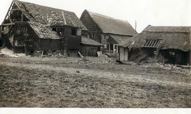 Gore ox farm took a direct hit with high explosive bombs causing damage to the barn and other agricultural buildings.