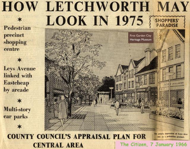 An article in The Citizen newspaper about plans for a new development in Letchworth Town Centre. This evenually resulted in Garden Square Shopping Centre being built in the early 1970s.