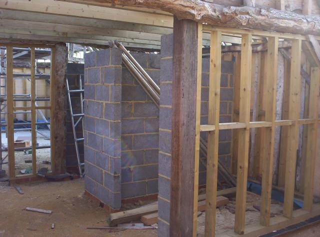 The construction of the kitchen and toilets.