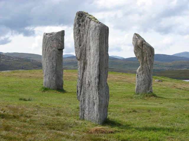 Standing Stones near the Callanish Stone Circle on the Isle of Lewis, Scotland