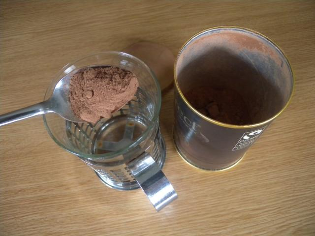 Drinking chocolate is made with cocoa but also contains powdered milk and sugar and so only needs the addition of hot water. It is now more popular than making one's own drink directly from cocoa.