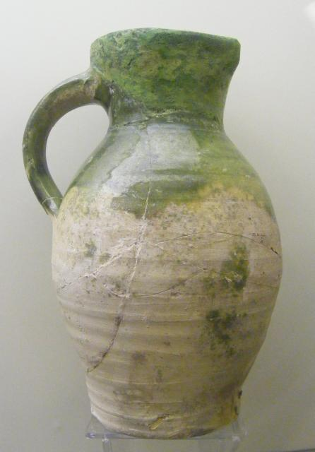 This jug, with a green glaze, was found in Harlow.