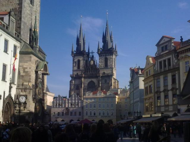 This church sits at one side of the Old Town Square in Prague, a gathering point for the many tourists visiting Prague throughout the year.
