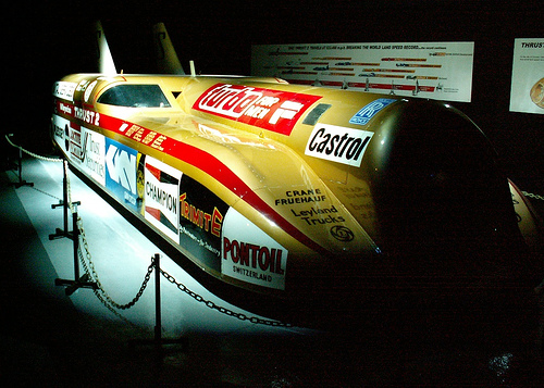 Richard Noble's 'Thrust 2'which broke land speed records in 1983 - now displayed in the Coventry Transport museum.