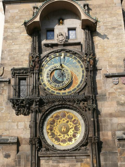 The Astronomical Clock is on the side of the town hall. It dates originally from 1410, but was transformed into its current state in 1490.