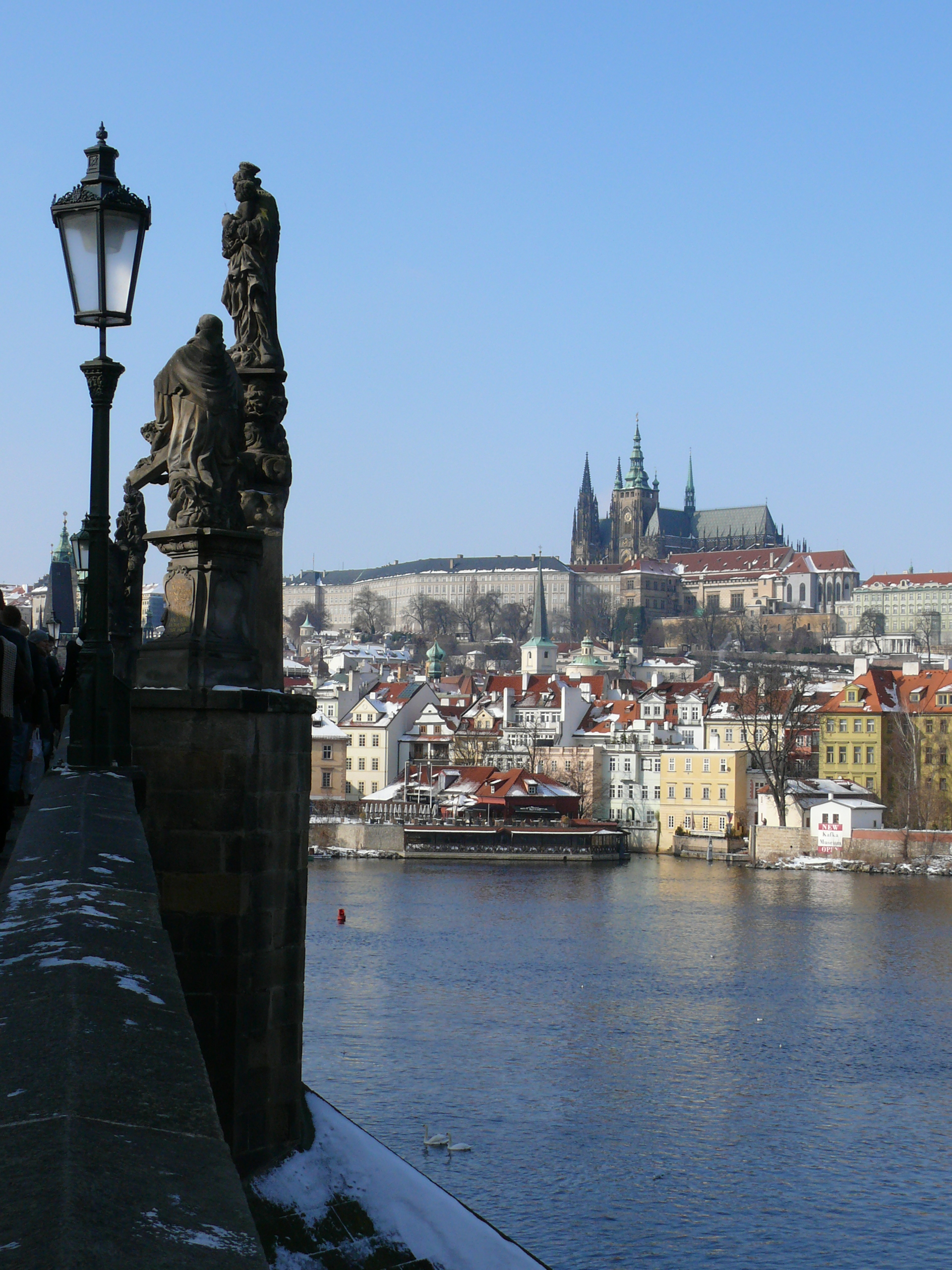 Charles Bridge was commissioned in 1357 to replace the earlier bridge which collapsed in a flood in 1342. It was completed in about 1400. The bridge has many statues and monuments although most of these are now copies of the originals.