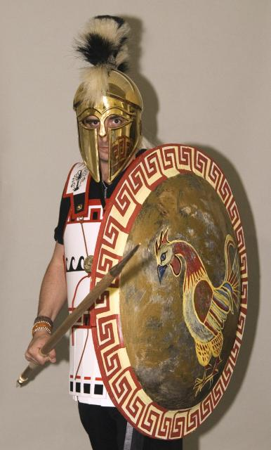 "Replica Ancient Greek armour as featured in our ""Hoplite"" school workshop at Wardown Park Museum."