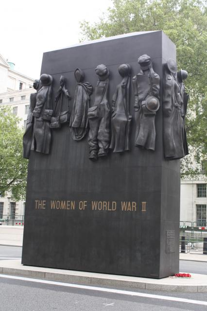 The Monument to the Women of World War II is situated in Whitehall, London close to the Cenotaph. It was sculpted by John W. Mills and dedicated by Queen Elizabeth II on July 9, 2005.