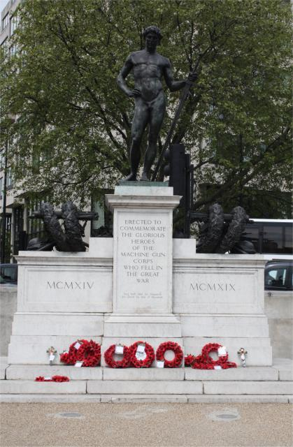 The Machine Gun Corps Memorial, also known as The Boy David, is a memorial to the dead of the Machine Gun Corps in the First World War at Hyde Park Corner in London. To either side of the statue is a Vickers gun, encased in bronze and laurel-wreathed. The memorial was originally erected in 1925 next...