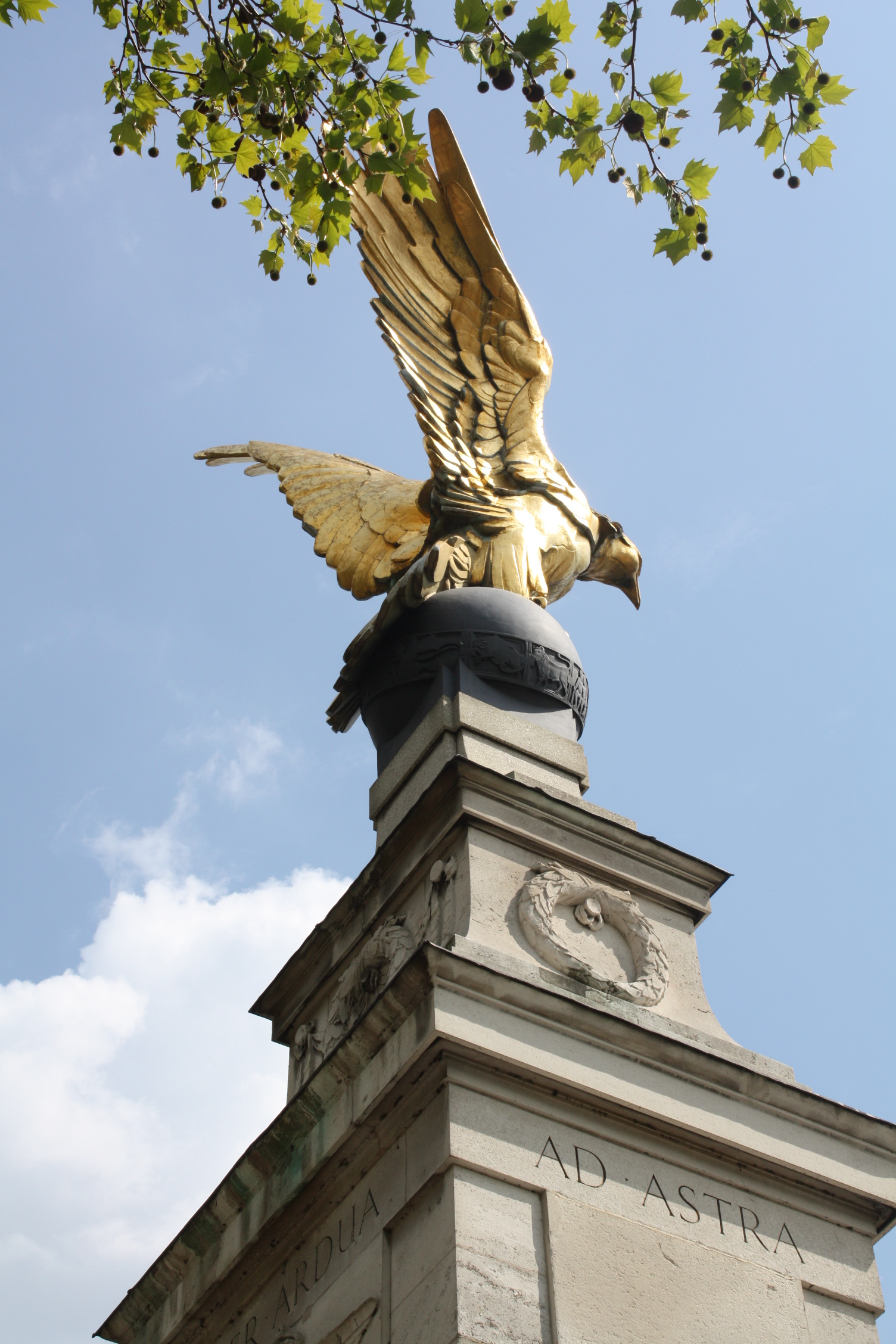 The Royal Air Force Memorial is situated on Victoria Embankment in central London and is dedicated originally to the memory of the casualties of the Royal Air Force in World War I. It has been extended for other conflicts too. It can be found between Cleopatra's Needle and Westminster Bridge, and di...