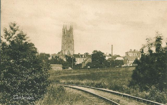 An old postcard view of the Church from tracks of the Kent and East Sussex Railway.
