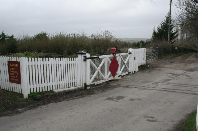 Level Crossing Gates with diamond. (on the Kent and East Sussex Railway)