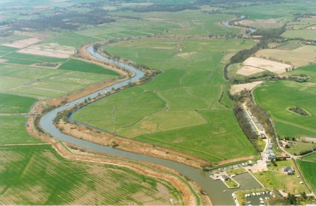 The river is 66 miles long. For most of its length it separates Norfolk and Suffolk.