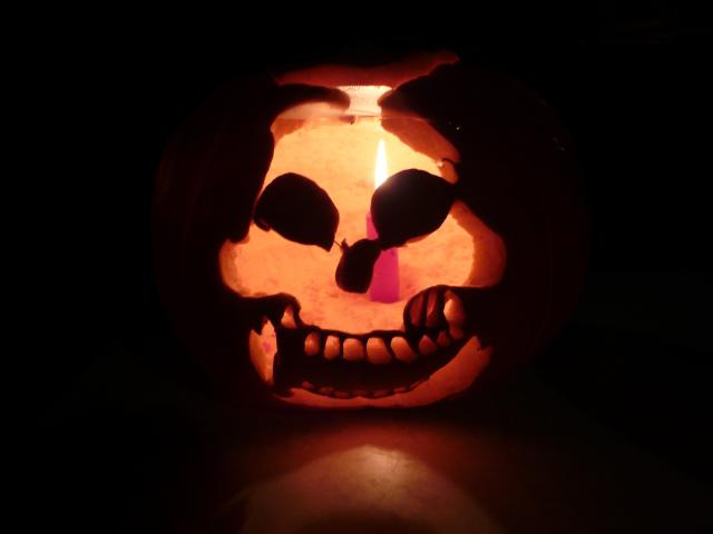 Hallowe'en is often celebrated with pumpkin lanterns.