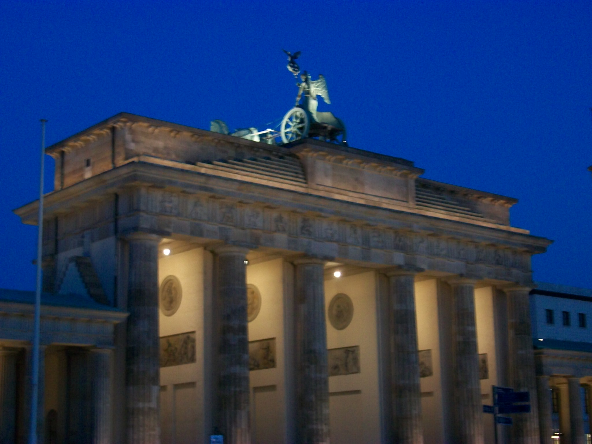 The Brandenburg Gate stands at the top of the Unter den Linden and has become the iconic image of Berlin. Between 1961 and 1989 the wall which separated east from west passed right through this point in the city. The figure on the top of the gate is Viktoria, the goddess of victory. The statue was t...