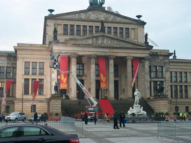 The Konzerthaus Berlin is the most recent building on the Gendarmenmarkt. It was built by Karl Friedrich Schinkel in 1821 as the Schauspielhaus. It was based on the ruins of the National Theatre, which was destroyed by fire in 1817. Parts of the building contain columns and some outside walls from t...