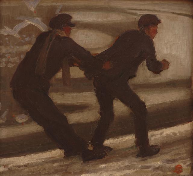 Gilbert Solomon, Sliding on the Round Pond, Undated