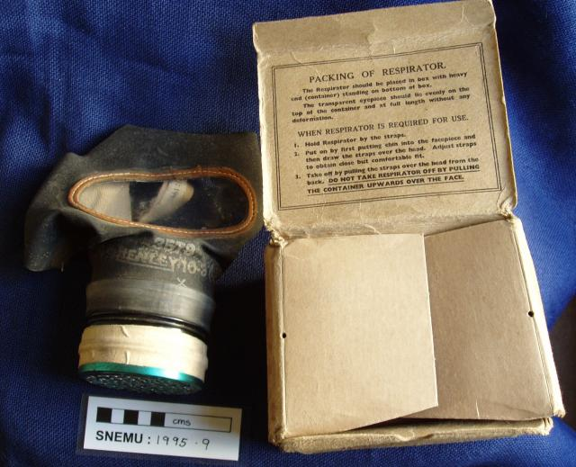 WW2 adult civilian's gas mask with original card box