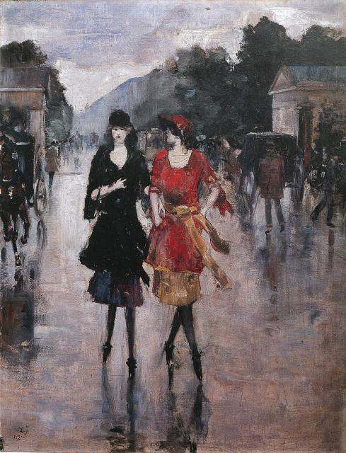 Lesser Ury, Two Girls Walking Along a Street, 1921