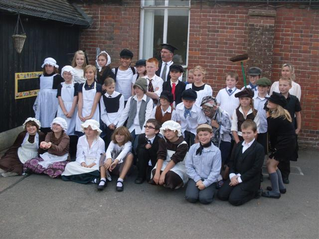 The pupils at Wickhambreaux Primary gathered in the playground for the traditional photo after lunch.