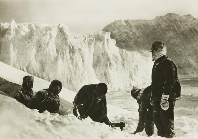 While they waited for rescue, Shackleton's men required better shelter than their ruined tents could provide. They first tried to dig caves in the ice of a neighbouring glacier, but the temperature was too high to prevent the cave walls from melting and the idea was abandoned.