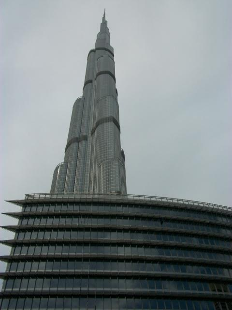 The Burj Khalifa is a skyscraper in Dubai, United Arab Emirates, and is currently the tallest manmade structure in the world, at 829.84 m (2,723 ft).  The Armani Hotel is below.