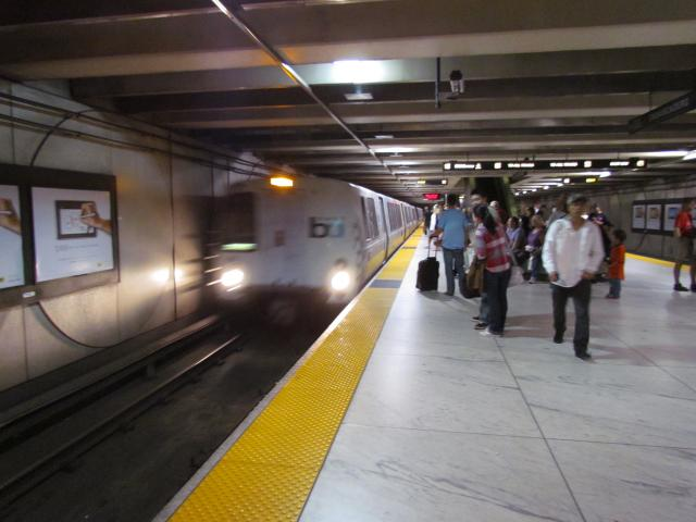 The BART (Bay Area Rapid Transit)serves the San Francisco Bay Area. There are five lines which cover 104 miles of track.