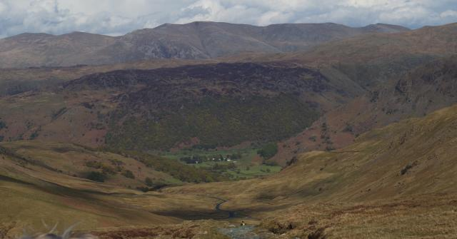 Seatoller, Watendlath Fells and Helvellyn from Fleetwith