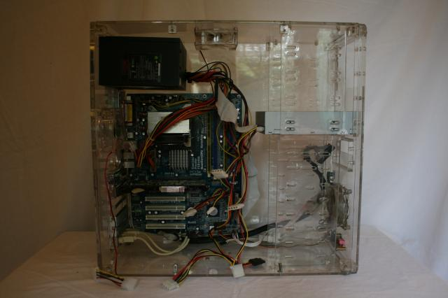 Motherboard, power supply, graphics card, memory, data cable. Add disk drive and connect power and data cables