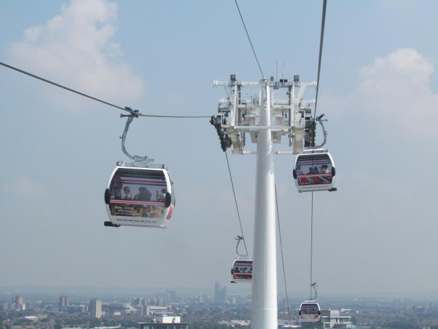 The Cable Car crosses the River Thames from the Greenwich Peninsula to the Royal Docks.