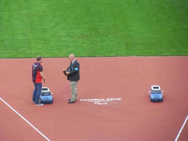 Remote controlled cars were used to return the javelin and discuss to the athletes.