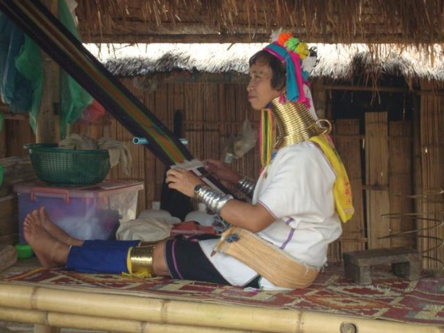 A picture of the long neck tribe in chaing mai in Thaliand. Taken in July 2011.