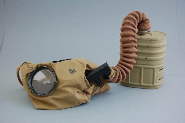 This is the type of gas mask issued from April 1916 and was known as the Small Box Respirator.