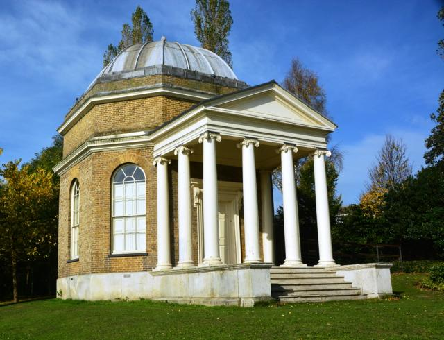This temple, built by actor David Garrick, is in honour of William Shakespeare.  It is on the banks of the River Thames at Hampton