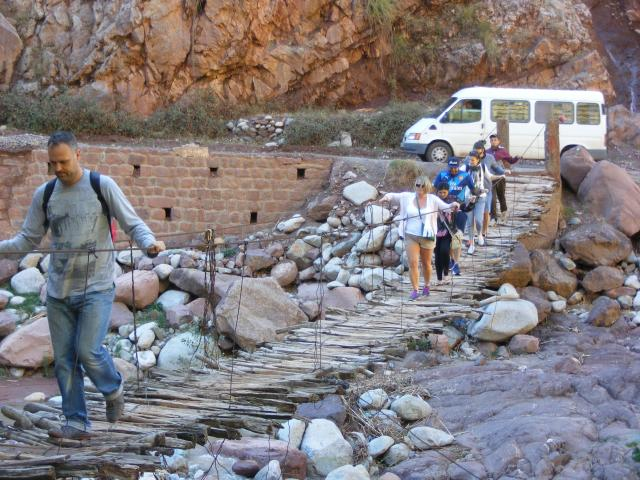 Crossing a river in the Atlas Mountains