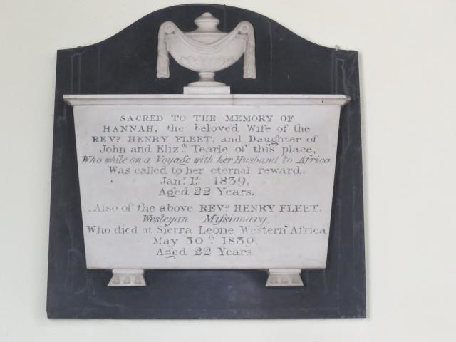 This memorial is to the memory of Hannah and Rev Henry Fleet who were Wesleyan missionaries to Sierra Leone, Western Africa in the early 1800's.