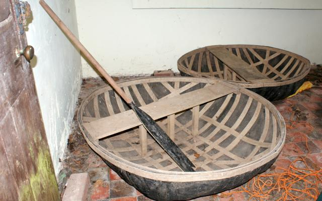 A coracle preserved in the grounds at Dudmaston, a country house in Shropshire