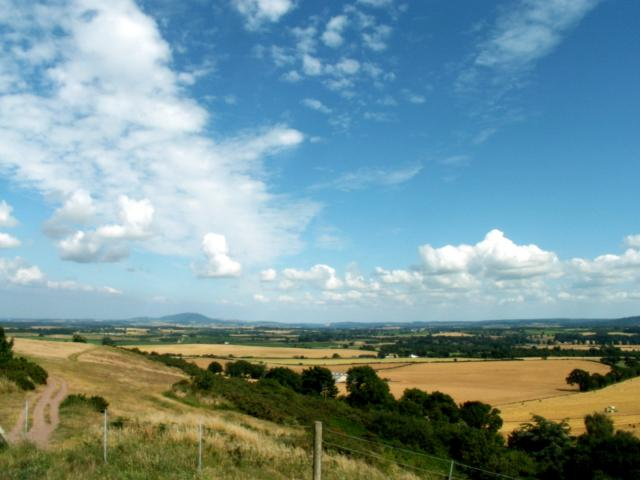A view of The Wrekin in the distance looking East from Lyth Hill, near Bayston Hill, Shropshire