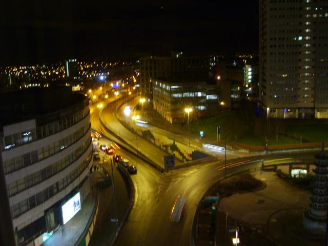 The first of two images showing Holloway Circus, Birmingham at two different times.