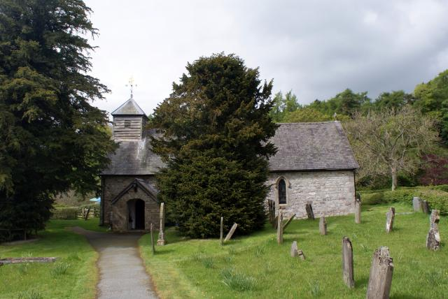 Ratlinghope Church (St Margaret's) is a small church in a peaceful valley between the Long Mynd and Ratlinghope Hill in the South Shropshire Hills.  It has fine examples of Arts and Crafts stained glass windows.