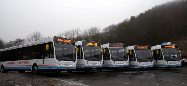 A group of five coaches ready to operate in Shropshire