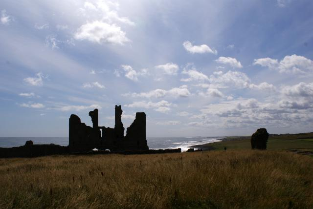 Dunstanburgh Castle on the coast of Northumberland, north of Craster.