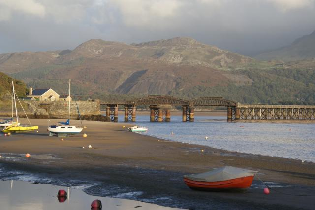 The Barmouth Bridge crosses the estuary of the River Mawddach